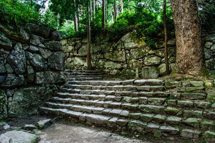 織田信長の死去後、安土城は焼失してしましましたが、現在でも城へと続く険しい石段、緻密に積み上げられた石垣などの遺構が残さされており、静かな廃墟跡は、悠久の歴史を刻み続けています。
