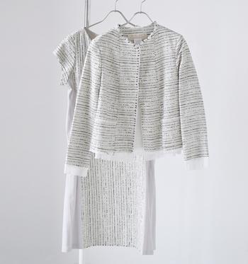 コーディネートはスカート・ワンピース・パンツに、ジャケットを合わせるのが基本のスタイルです。オケージョンシーンに相応しい1着を用意しておくと、入園・入学式だけではなく、学校行事などのシーンでも重宝します。入園・入学式はあくまでも「お子さんが主役」ですので、基本的なマナーポイントをおさえて上品で清潔感のある服装を心がけましょう。