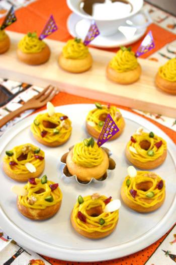 かぼちゃモンブラン・ドーナツと、クランベリーやピスタチオが乗っている可愛らしいドーナツの2種類のレシピです。