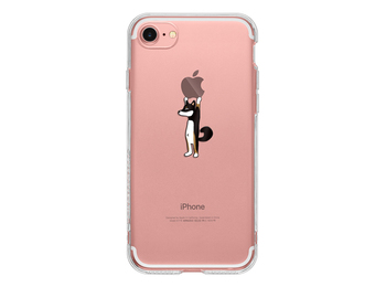 iPhoneのリンゴマークを活かしたこちらは、りんごを持つ黒柴犬がユーモラスで愛らしいです。