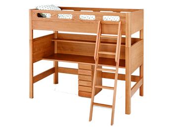 部屋の高さを活かしてベッドとデスクが一体型になったロフトベッドセット。狭いお部屋でも床面を広く使えるメリットがあります。 配置を工夫すれば、お子様同士の干渉を抑えられる点も良いですね。