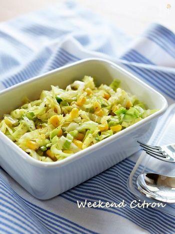 キャベツのサラダといえば、コールスロー。 普通のキャベツでも充分おいしいですが、春キャベツでつくるともっとやわらかくておいしいんです。