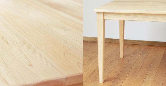 素材となっているのは、国産のひのき。美しい木目の天板が印象的です。シンプルな作りだから、長く使っても飽きがこないですね。