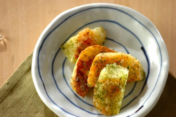 チクワだけではなく、ジャガイモも磯辺揚げに!サクッとした歯ごたえの後に青海苔の香りがふわぁっと広がるおつまみに最適なレシピです。