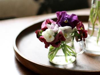 花を活けるのは花瓶という思い込みは捨てて、ティーポットやカップなど、その植物の個性にあった花器に飾ってみて。