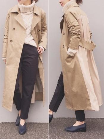 ベージュのトレンチコートも秋~冬~春まで長く使えて便利なアイテムですよね。冬はインナーにハイネックウールのセーターを合わせるだけで暖かな印象を与えてくれます。