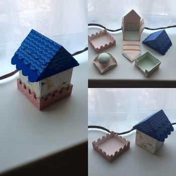 イチから作る小箱なら、こんな風に立体的な箱も自由自在にデザインできるでしょう。こちらは裁縫箱なので布を使っていますが、用途に合わせて素材やデザインを選んでみてくださいね♪