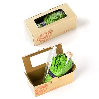 パッケージは、まるで本物のレタスが出荷されるような箱詰めスタイル。