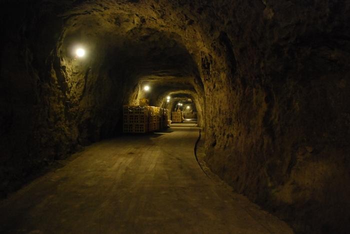 第2次世界大戦末期に作られた地下工場跡の洞窟を、清酒熟成のための酒蔵として利用。洞窟の中は、清酒の熟成に最適な年間を通して平均約10℃に保たれています。4月~11月の土日祝日・ゴールデンウィーク・お盆に解放されています。開放時間は10時~16時です。