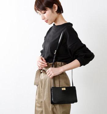 フォーマル服に合わせるバッグは、それなりに上品できちんとしたバッグが必要。華奢な肩紐が女性らしいデザインです。