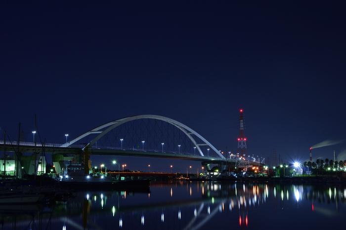 藍色の夜空を背景に、大阪湾沿岸に並ぶ無数の化学プラントが色鮮やかにライトアップされる様は、思わずカメラに納めたくなるほどの美しさです。