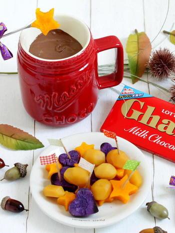 秋の味覚の栗、かぼちゃやさつまいもなどの野菜のチョコフォンデュ。お腹も充実の食べ応え♪季節も味わえてほっこり気持ちもあたたかになりそうですね。