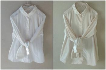 こちらは綿97%ポリウレタン3%のシャツを10分間紅茶染めしたもの。左の染める前と比べても、淡いナチュラルなベージュ色に仕上がっていますね。