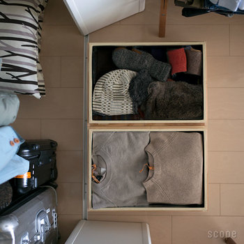 サイズのバリエーションは、容量5~40kgの4種類で平型、深型が選べます。手持ちの洋服の量に合わせてチョイスしたいですね。