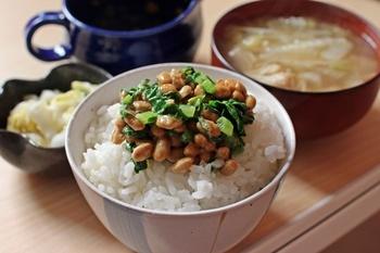 日本の食卓に欠かせない納豆には、納豆菌が多く含まれています。胃酸に耐性をもつ納豆菌は、他の善玉菌を増やす働きがあると言われています。白いごはんにのせたり、パスタやチャーハンなどいろいろなお料理に使えるので積極的に食べたいですね。
