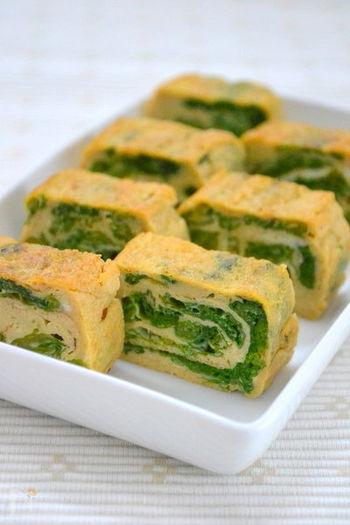 卵焼きは、春のお野菜「菜の花」をくるくる巻いて。簡単に作れて、彩り華やかな一品です。