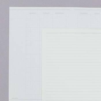 「manager」は、月のスケジュールをひと目で確認することができる:Free Monthlyと、メモやその日のまとめなどを書き込める、自由な使い勝手の:One Three Noteがセットになった使い勝手の良いノート。  仕事で使うのは勿論ですが、プライベートの管理に使ってもOK!自分をマネージメントしてくれる…。そんなノートです。