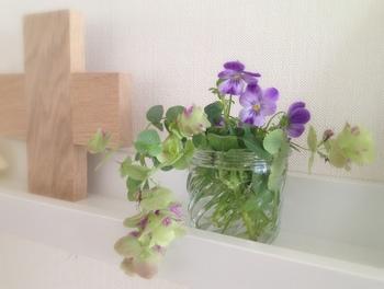 小ぶりな瓶に入れて飾り棚に。グリーンと一緒に活けると、野の花のような印象になりますね。