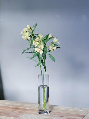 アルストロメリアのすらりとした直線を楽しむ定番の花瓶活けでは、長さに多少の差をつけたものを数本、ざっくりとラフに活けるのがおすすめ。頭に重みがあるので、重心が安定しやすい口の狭い花瓶が◎。すらっとした茎が美しいので、背の高い透明のガラスで長さを活かして。