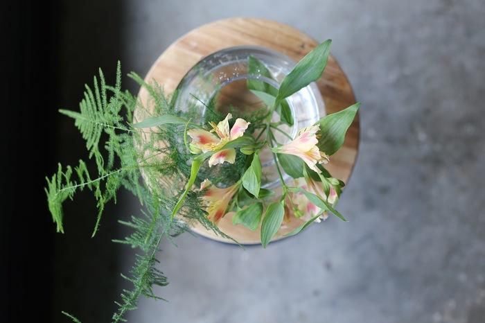 まっすぐで細かく枝分かれしたアルストロメリアは、他の花を支える花留めとしても活躍します。茎が柔らかくしだれてしまう花もアルストロメリアを添えればしっかりと支えられます。フレッシュな色合いのアルストロメリアは、鮮やかなグリーンとの相性も抜群です。