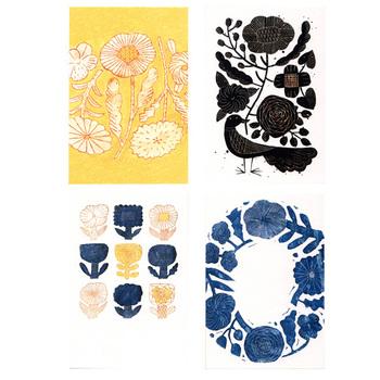 陶器作家・鹿児島陸さんの器に用いられている図案がポストカードに。陶器から紙へとマテリアルを変えても、質感が伝わってくるよう。風合いが優しく、朗らか。