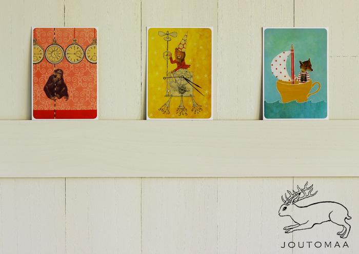 フィンランド・ブランド「JOUTOMAA(ヨートマ)」のポストカードは、カラフルで独創的。古いイラストや写真をコラージュして作られています。アンティーク調のタッチと、愛嬌ある動物たちがかわいいですね。デザインを手がけているのは、アーティストであるReeta(レータ)さん。