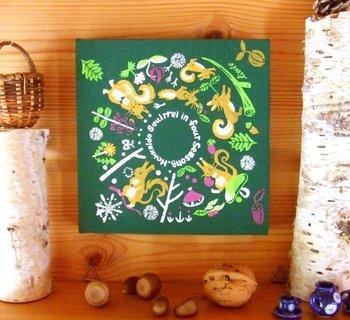 鮮やかな色使いがとってもキュートなアートパネル。お部屋に1枚あるだけで明るい印象になりますね。