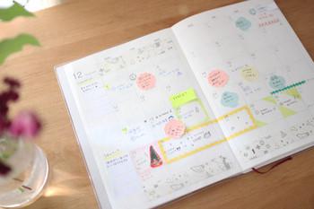 月間スケジュールのページは、パッと見て分かりやすいのが大切。「仕事」「子どものこと」など、項目別にカラーペンを使い分けて記入するとすっきりします。特に仕事はふせんに書いて貼り付けると、日程が変更になった時にワンアクションで動かせて便利。カラフルなふせんでページを可愛らしく飾って目を楽しませるのが、ワクワクしながらスケジュール帳を続けるモチベーションアップにつながります。