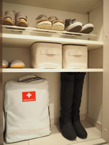靴と一緒にしまいたい、ブラシやクリームなどのシューケア用品。棚に合った一つのボックスに集めてスッキリと。