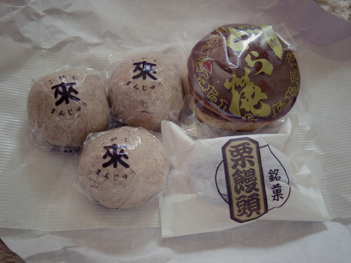 """来宮駅すぐの「健康パン」は、店名とは裏腹に、地元に根付いた和菓子店です。 店に並ぶのは、懐かしい味わいが魅力の手作り和菓子です。特に有名なのが「來宮神社」で販売されている""""来福スウィーツ""""の一つ『こがしまんじゅう』です。しっとりともっちりとした皮生地に、甘さ控え目の小豆餡がたっぷりと入っています。"""