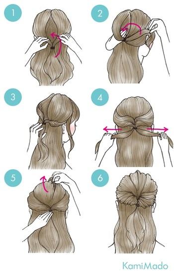 1. 毛束を適量とりますしょう。位置、量はお好みで!低めの位置でポニーテールにするのも可愛いです。 2. ゴムで結びます。細めのものがオススメです。 3. 結び目の上を2つに割って…。 4. その割れ目に毛束を通します。ちなみに上から通せば「くるりんぱ」、下から通せば「逆りんぱ」です♪ 5. 毛先を分けて、両側から引っ張って整えます。 6. これでくるりんぱの出来上がりです。 7. 最後は軽く崩して…… 8. 完成です!