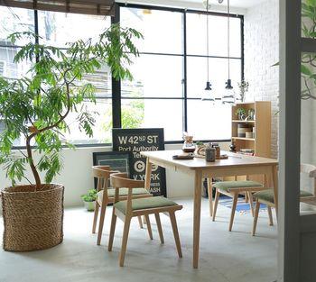 ダイニングも大きなグリーンがあるとまるでカフェのような雰囲気に!お家にいながらお出かけ気分になれて素敵ですね。