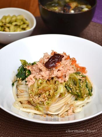 こちらはビビンバのうどんバージョンレシピ。生鮭で作るので、タレの塩分とのバランスも気にせず作れるでしょう。コチュジャンをプラスすればより本格的な味わいに!