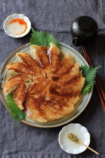 鶏ひき肉にあわせたのは、たっぷりのたまねぎと大葉。どちらもみじん切りにしています。にんにくなしのあっさりとした和風味の餃子。お酢と柚子胡椒などでどうぞ。