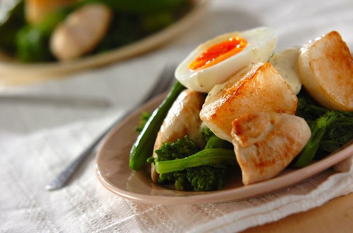 和食でいただくイメージが強い菜の花ですが、洋風の味付けにもよく合います。こちらは、菜の花をシーザードレッシングでいただくサラダです。鳥のささみも加わって、ボリューム満点。チーズと半熟卵をよく絡ませて、パンと一緒にいただいても美味しそう!