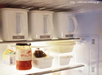 手が届きにくい冷蔵庫の最上段。取っ手付きのコンテナにラべルを貼っておけば、欲しいものがサッと取り出せて便利ですね。