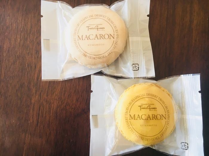 熊本の素材を使ったカラフルな「マカロン」は、東京のイベントで販売されるほどの人気商品。フレーバーは城南産いちご・ 天草産塩キャラメル・ 河内産青みかん・ 植木産パッション・天草産シモン&抹茶の5種類のオリジナルフレーバーが魅力です。色合いも綺麗で、パッケージがおしゃれなのも高ポイント!