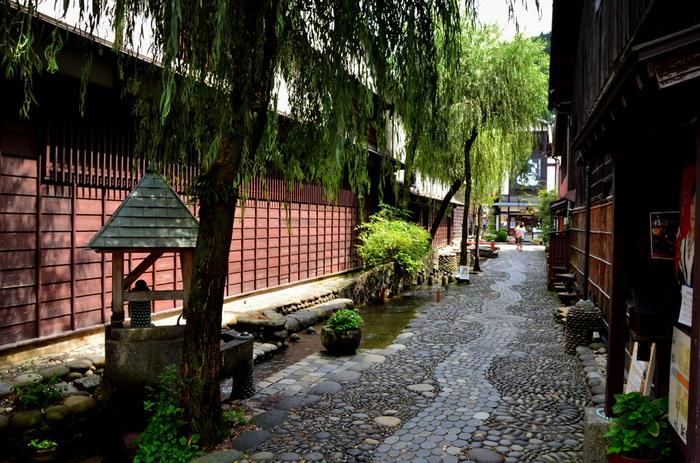 やなか水のこみちでは、情緒ある石畳の細い路地の脇を穏やかに水路が流れています。水路の横にある柳は、ゆらゆらと葉を揺らせ、周囲の古い建物と調和し、絵画のような美しい景色を作りだしています。