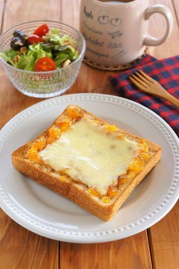 チーズのしょっぱさと、マーマレードの爽やかな香りがよく合う、チーズケーキ風のトーストに、シナモンをプラス。「どんな味がするかな…?」という、食べるまでのドキドキ感も楽しみましょう♪