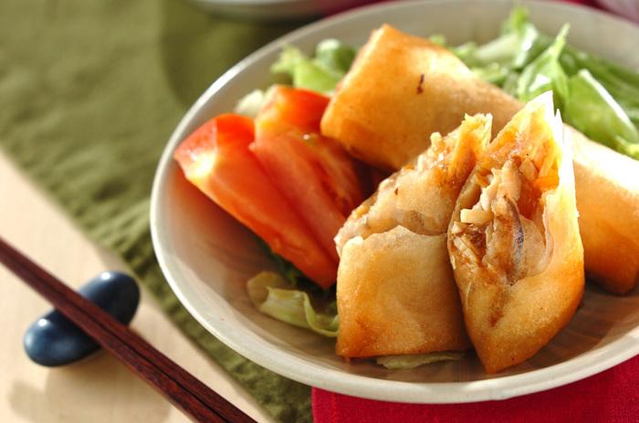 ささみと野菜たっぷり!ボリュームのある具を包んだ一品は、しっかりとした味付けでお弁当でも美味しくいただけます。