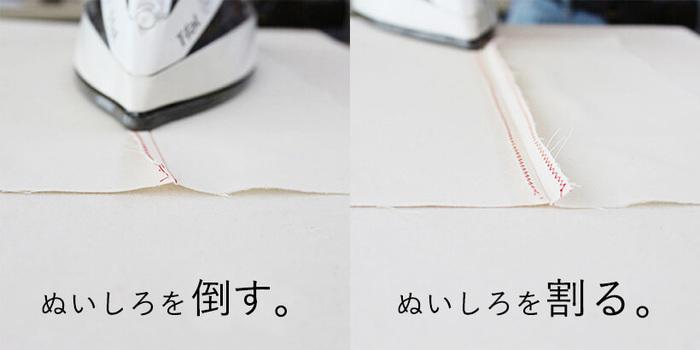 仕上がりが何となく不恰好になってしまう、という方は、一ヶ所縫ったらアイロンがけをして縫い代を「割る・倒す」作業をし、表に返したらアイロンで形を整え、という、一回一回の作業ごとにアイロンを当てることを意識してみてください。その先の縫いやすさも違ってきますよ。  巾着の口やポケット口などの、三つ折りミシンをかける時も、縫う直前にアイロンでしっかりと折り目をつけて。