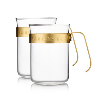 耐熱ガラス製、220mlのカップ。取っ手(フレーム)部分を取り外すことができるので、ガラス部分のみをレンジや食洗機で使用することもOKです。