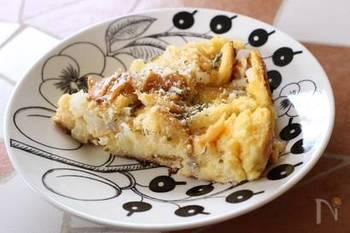ハーブが香るパンプディング。生クリームが入ってこっくり濃厚な味わいです。ちょっぴり贅沢な朝ごはんにぴったり。
