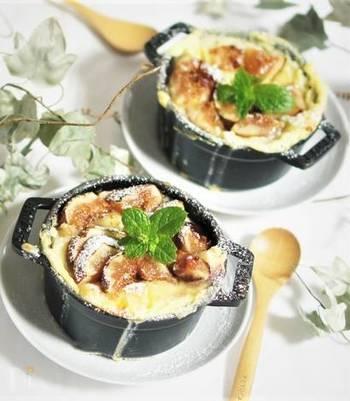 プチプチ食感が美味しい無花果を使ったパンプディング。あたたかくしてとろ~りとした味わいを楽しんだり、冷たく冷やしても美味しくいただけます。