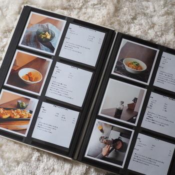 作った料理の写真と、そのレシピをフォトブックにすれば、わが家だけのレシピブックの完成です。料理だけでなく、趣味の記録や、手持ちの洋服の管理、行ったカフェのログを作ってもいいですね。