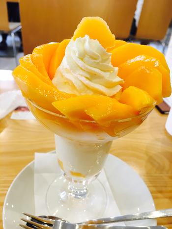 春夏に大人気なのが「完熟マンゴーのパフェ」。花びらのように盛り付けられたマンゴーは、口に入れた途端にとろける柔らかさと芳醇な香りが最高。  マンゴーの真ん中の生クリームや、下の手作りマンゴーアイスもフレッシュマンゴーを引き立てていて、あっという間に食べてしまうおいしさ。