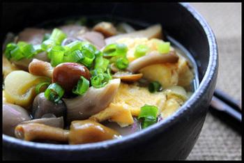 きのことそうめん、卵さえあればできるお手軽夜食メニュー。胃にやさしいレシピなので、飲み会終わりの夜食にもぴったり。お好みのきのこを使って作ってくださいね。