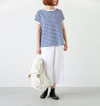 爽やかなホワイト×ブルーのボーダーは海を思わせます。襟元と袖の白いカラーリングがポイント。