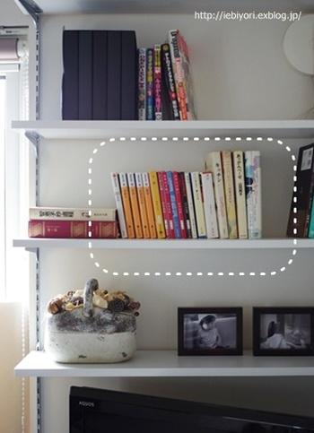 こちらはスペースも程よく空いていて一見すっきりとした本棚ですが、囲った部分の色のバラバラ感が気になります。そんな時は・・・