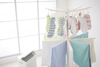 外出やお天気などの理由で、洗濯物を部屋干しする方もきっと多いですよね。でも、気になるのは部屋干し独特のニオイ。これは、湿っている間に発生する雑菌が原因だと言われています。なるべく短時間で乾かすには、除湿機や扇風機などを利用するのがオススメです。